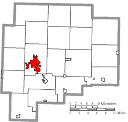 Location of Cambridge in Guernsey County