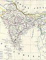 Map of India in 1837 from Malte-Brun Map of India, Burma and Southeast Asia (cropped).jpg