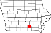 Map of Iowa highlighting Monroe County