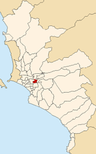 San Luis District, Lima - Image: Map of Lima highlighting San Luis