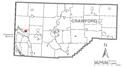 Location of Linesville in Crawford County