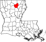 State map highlighting Ouachita Parish