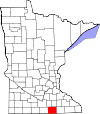 Map of Minnesota highlighting Freeborn County.svg