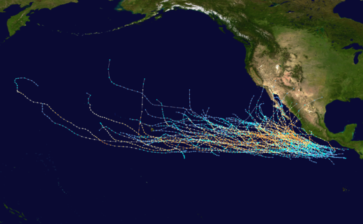 Tracks of all known Category 4 Pacific hurricanes from 1949-2011 in the central and eastern Pacific basins Map of Pacific Category 4 hurricanes.png