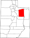 State map highlighting Duchesne County