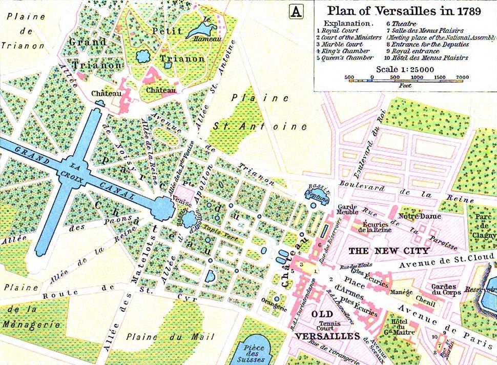 Map of Versailles in 1789 by William R Shepherd (died 1934)