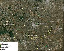 Nella mappa l'ubicazione delle specchie e dei paretoni di epoca messapica facenti parte del sistema difensivo di Kalia (Καιλια), l'odierna Ceglie Messapica.