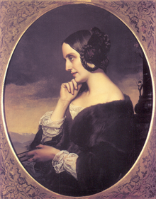 Marie d'Agoult 1843, Ölgemälde vonHenri Lehmann (Quelle: Wikimedia)