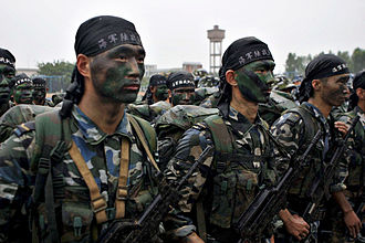People's Liberation Army Marine Corps - PLAN Marines based in Zhanjiang stand at attention during a visit by an American admiral in 2006.