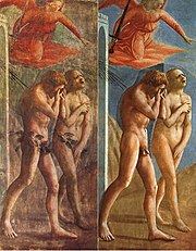 The Expulsion from the Garden of Eden, by Masaccio, before (with Fig leafs) and after restoration (without them).