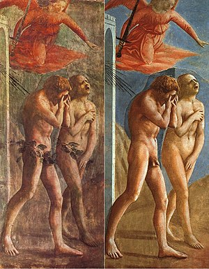 Fig leaf - The Expulsion from the Garden of Eden, by Masaccio, before and after restoration. It was painted in 1425, covered up in 1680, and restored in 1980.