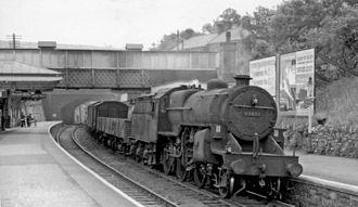 Matlock railway station - View from 1961 showing the original footbridge