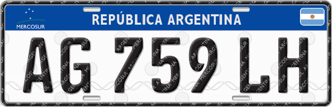Matrícula automovilística argentina 2016 (Mercosur)-B
