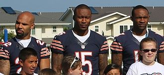 Brandon Marshall - Marshall (center), along with Alshon Jeffery (right) and Matt Forte (left)