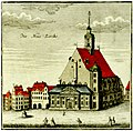 Neue Kirche, coloured engraving from 1949 showing the exterior and houses on the left on the square