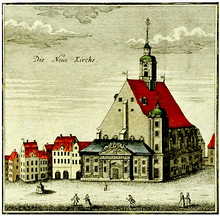The Neukirche (New Church), Leipzig in 1749 Matthaikirche Leipzig 1749 Foto H.-P.Haack.JPG