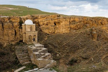 View of the Diri Baba Mausoleum, a mausoleum of Sheikh Diri Baba, located in Maraza city, Gobustan Rayon, Azerbaijan.