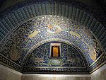 Mausoleo di galla placidia, int., cervi alla fonte di dx 01.JPG
