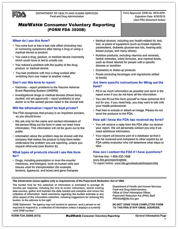 File:MedWatch Consumer Voluntary Reporting Form (page 1 Of 5)  (8905977304)
