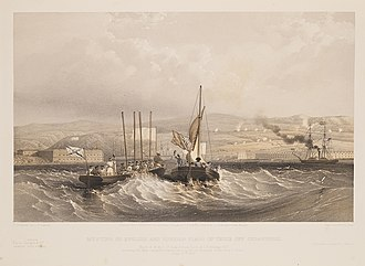 Cartel (ship) - Two cartel boats meet to transfer the sword of an officer killed in a recent battle. Both fly a flag of truce forward. The Russian boat (tossed oars, left), additionally flies the Ensign of the Russian Navy astern. The British boat (sail, right, from the H.M.S. St. Jean D'Acre), flies the British Red Ensign, which was used by the British navy at the time. June 27th 1855.