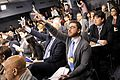 Members of the press raise their hands to ask questions as Secretary of Defense Leon E. Panetta and General Martin Dempsey.jpg