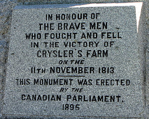 89th (Princess Victoria's) Regiment of Foot - Monument commemorating the Battle of Crysler's Farm in November 1813