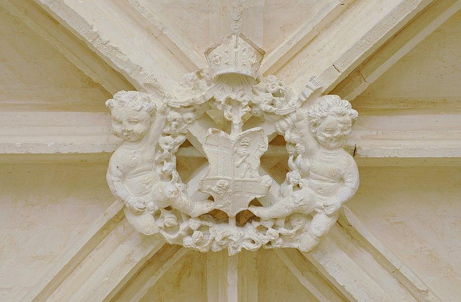 Keystone in the abbey of la Frenade: putti and COA of the Saint-Gelais family, abbey of la Frenade, Merpins, Charente, France.