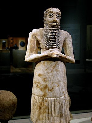 Eshnunna - Sumerian male worshiper, Alabaster with shell eyes. One of the twelve statues in the Tell Asmar Hoard