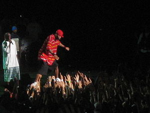 Stage diving - Method Man preparing to dive into the crowd at the Tweeter Center during Rock the Bells 2007