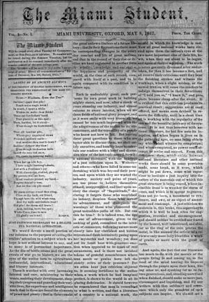 The Miami Student - The first issue of The Miami Student from May 8, 1867.