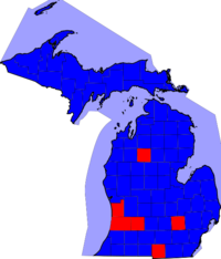 Michigan Senatorial Election Results by county, 2008.png