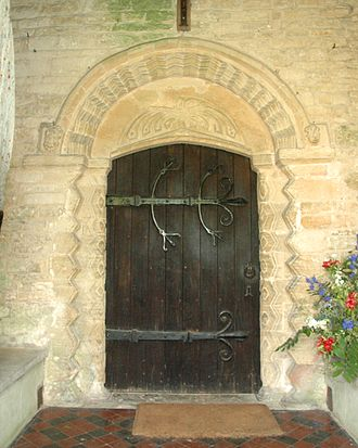 Middleton Stoney - All Saints' parish church: mid-12th century Norman south doorway