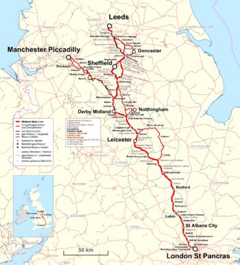 Strecke der Midland Main Line