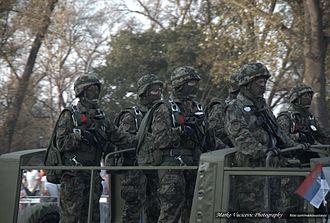 63rd Parachute Battalion - A group of unit members during the Belgrade Military Parade, 2014