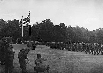 1945 in Norway - Image: Milorg District 12 (D12) on parade in 1945