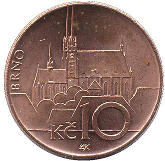 Brno - The 10 CZK coin (1993 design)