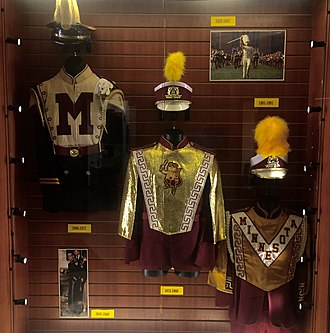 University of Minnesota Marching Band - Former uniforms worn by the Pride of Minnesota. From left to right: 1960-1972, 1973-1980, 1981-1991.