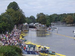 Molesey Lock - The lock after the release of 160,000 Rubber ducks at the start of the Great British Duck Race in September 2007
