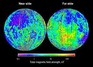 Magnetic field of the Moon - Total magnetic field strength at the surface of the Moon as derived from the Lunar Prospector electron reflectometer experiment.