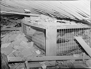John Baker, Baron Baker - A Morrison shelter containing a dummy, after the house it was in had been destroyed as a test