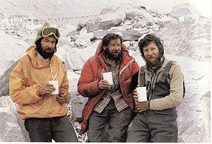 Zygmunt Andrzej Heinrich - Andrzej Heinrich (left), Kazimierz Olech and Andrzej Czok attempting to climb Mount Everest in 1980