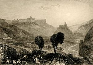 Thomas Hartwell Horne - Mount Moriah, illustration from The Biblical Keepsake, engraving after J. M. W. Turner