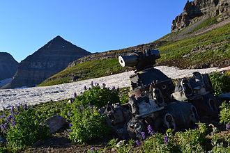 Mount Timpanogos Wilderness - Radial Engine from 1955 B-25 crash site. Mount Timpanogos in background.