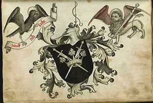 Hans Talhoffer - Talhoffer's coat of arms, including the Lion of St. Mark