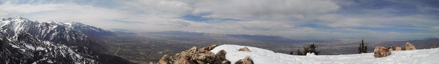 Mount Olympus peak of surrounding twin peaks, Oquirrh Mountains, and the Salt Lake Valley tucked underneath taken April - 2012
