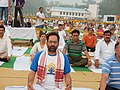 Mukhtar Abbas Naqvi performing Yoga along with other participants, on the occasion of the 2nd International Day of Yoga – 2016, at Chaudhary Charan Singh University Ground, Meerut (UP) (2).jpg