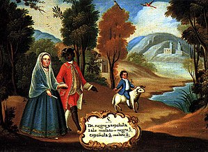 "Race and ethnicity in Latin America - De negro é española sale mulato ""from a Black man and a Spanish woman results a Mulatto."" (Pintura de castas, ca. 1780), Unknown author"
