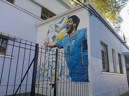 Mural of Suarez on his former school in Montevideo, Uruguay Mural escuela 171 01.jpg