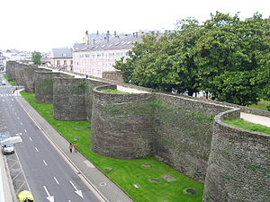 Ancient Roman defensive walls - Section of the Roman walls of Lugo, Spain, 263-276 AD