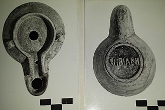 Brand - Roman oil lamp, showing underside with maker's mark. Museo Bellini